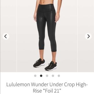 "Lululemon Wunder Under High Rise Crop 21"" *Foil"